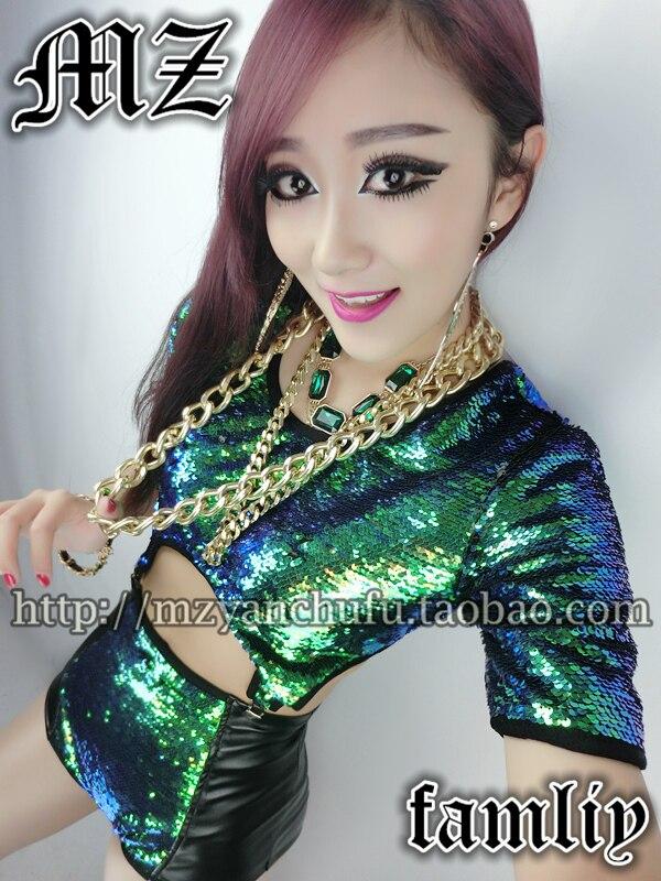 Hot 2019 fantaisie Ball chanteur DJ femmes mode vert à paillettes costumes court clip bretelles grande taille manteau (chemise + short)