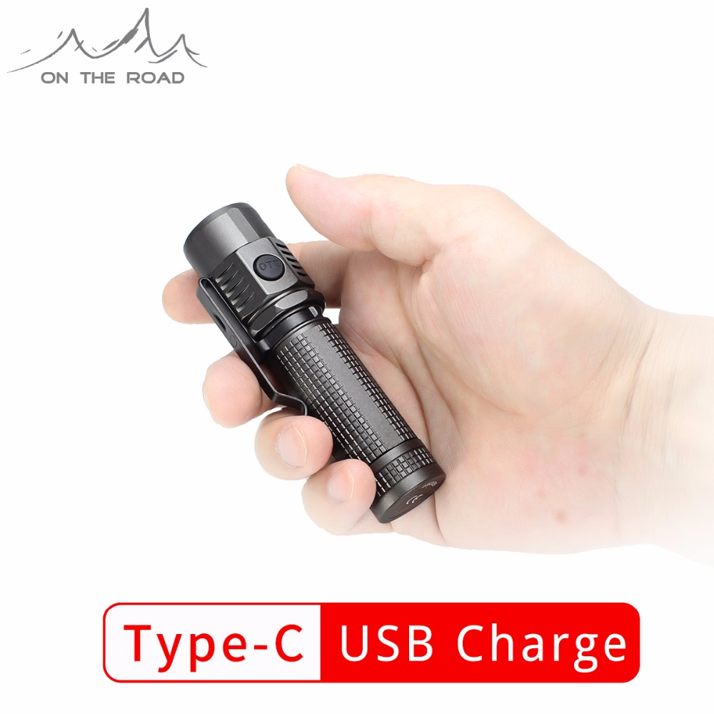 ON THE ROAD U18 Type-C USB Flashlight USB-C Torch Charge CREE LED 1100lm Mini EDC Flashlight Small Professional Outdoor