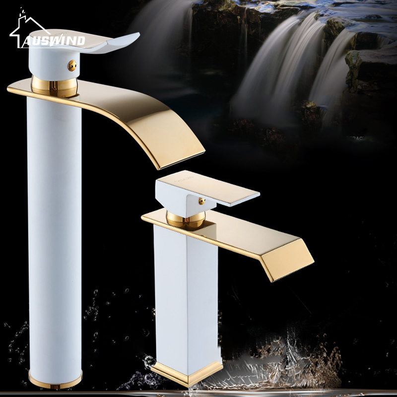 Basin Faucets High Gold-plated Paint Brass Bathroom Mixer Tap Waterfall Faucet Single Handle Cold And Hot Water Taps YD-612 free ship classic bathroom faucet matte black brass basin sink faucet cold hot tap single handle taps mixer