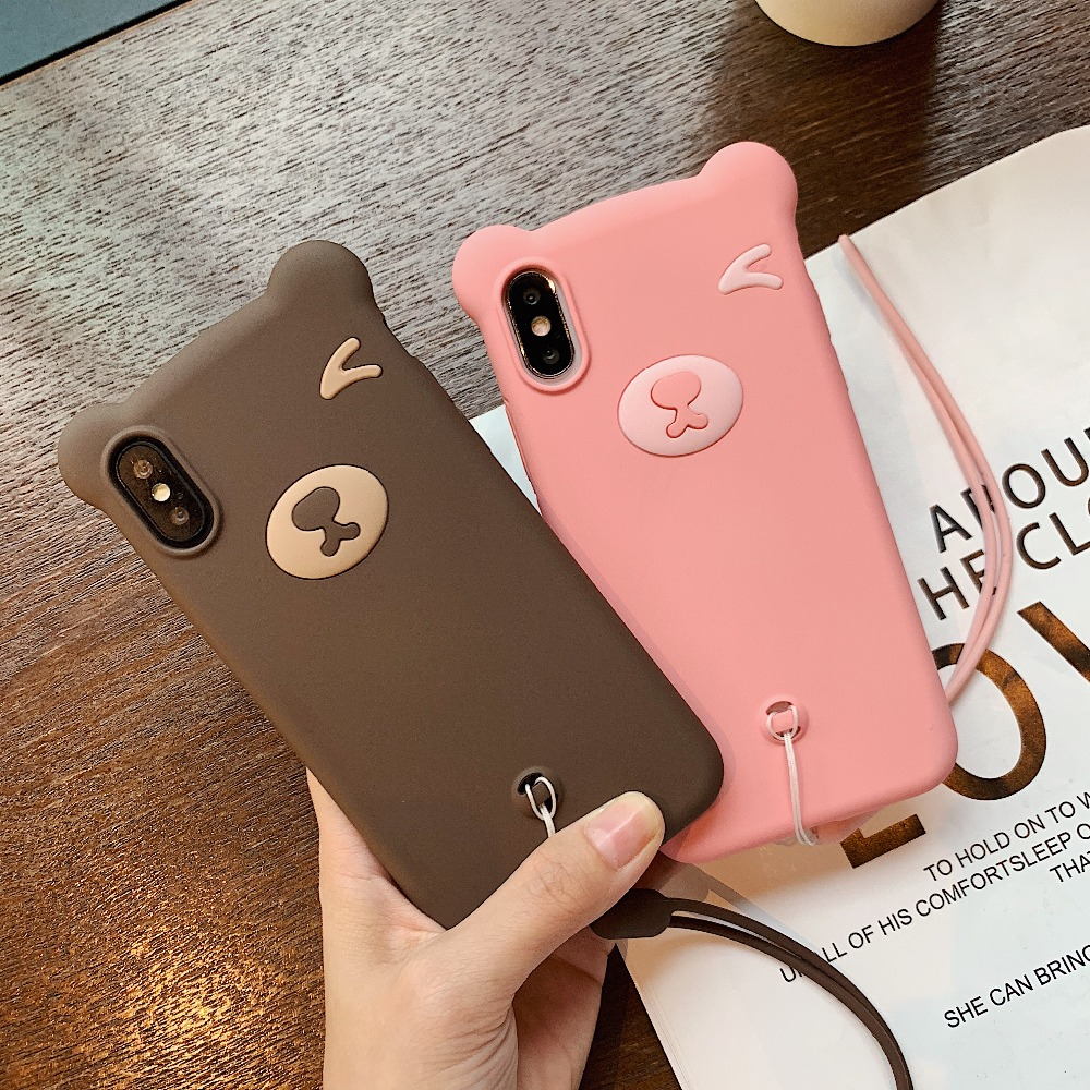 For iPhone 7 6 6S Plus X XS MAX XR Mobile Phone Cases Silicone Soft Case 8plus Cartoon Bear Anti fall Protection Box Lanyard in Fitted Cases from Cellphones Telecommunications