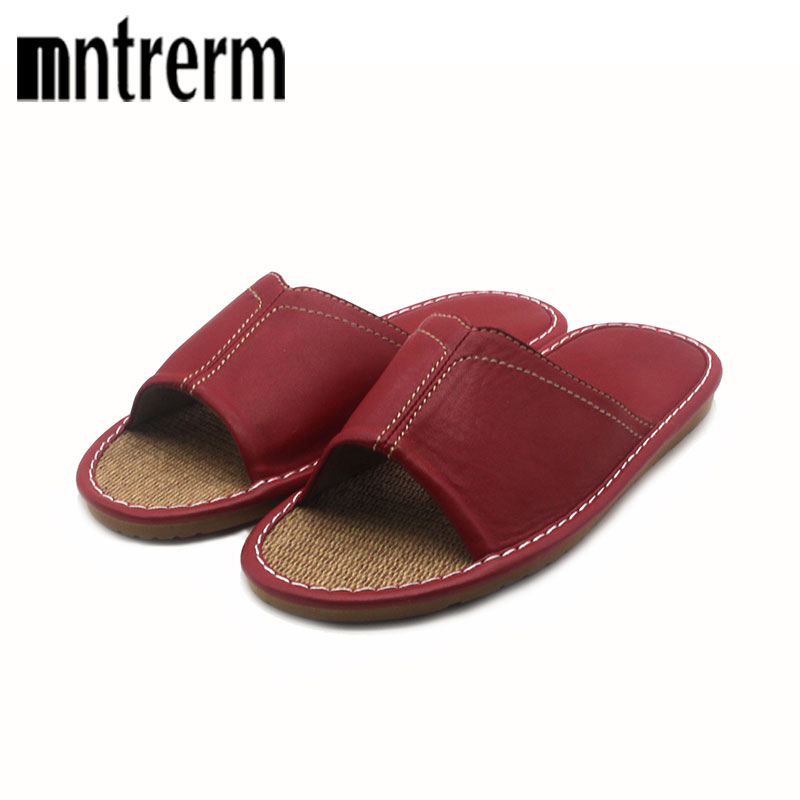 Mntrerm New 2018 women Genuine Leather sandals fashion Bling slippers summer women flats shoes woman flat Summer indoor slippers nemaone new flat women slippers suede leather sandals woman summer style pearl beath women shoes black apricot pink green