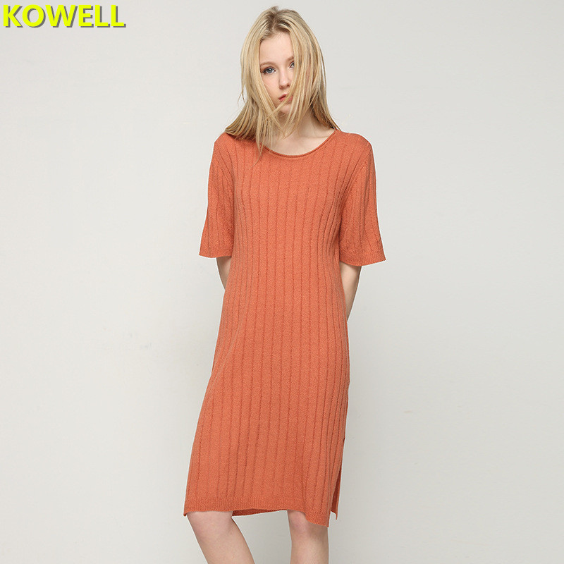 Hot Sale 2018 Summer Clothes For Women Fashion Sweater Dress Solid Color Casual Loose O-Neck Female Knitted Short Sleeve Dresses
