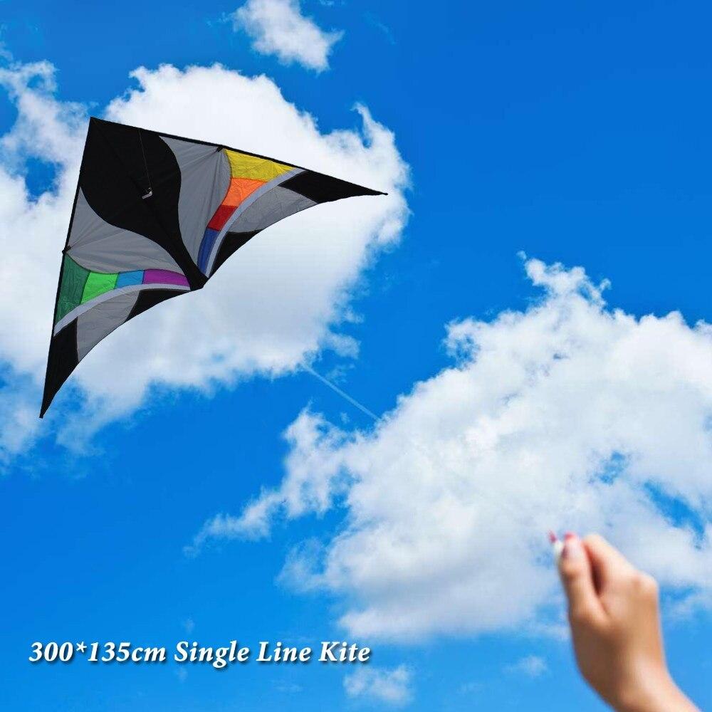 Cerf-volant simple ligne énorme cerf-volant en forme de Triangle en forme de Triangle avec chaîne de 30 m pour enfants adultes Sport de plein air parc de plage amusant