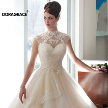 Doragrace High Neck Cap Sleeve A Line Princess Wedding Dresses Gowns Bridal