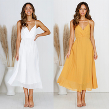 Sexy Women V Neck Sleeveless Backless Long Dress Summer Casual Boho Beach Elegant Party Fashion Female Maxi Dresses Vestidos цена