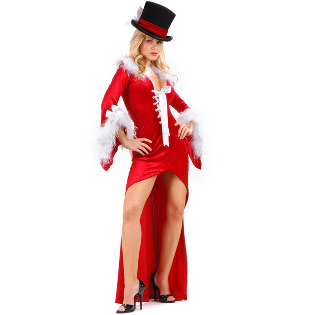 Women Christmas Long Dress With Wrap  Red Elegant Sexy Miss Santa Halloween Party Costume