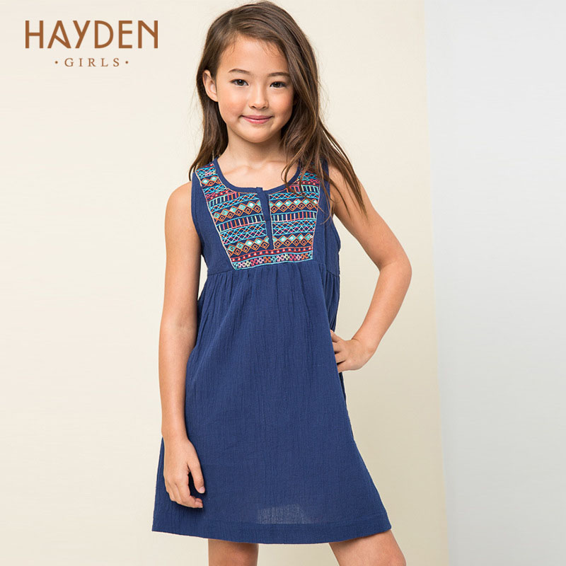 HAYDEN girls dress navy summer costumes christmas teenagers girls clothing children fancy frocks for age 7 8 9 10 11 12 13 years купить
