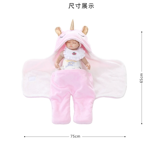 Warm Fleece Unicorn Design Baby Blanket Sleeper 6