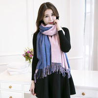 2017 new blanket European and American streets style imitation cashmere scarf double color gift all-match female warm shawl