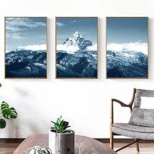 Природа Снежная гора настенная живопись пейзаж холст скандинавские