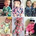 Новые ребенка комбинезон для мальчиков одежда для девочек С Длинными рукавами печати девочка одежда Отдых новорожденных детская одежда набор