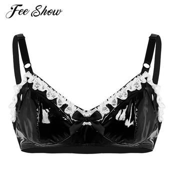 Mens Black Sexy Spaghetti Straps Erotic Lingerie Fashion Lace Wire-free Bra with Bowknot Gay Fetish Wetlook Faux Leather Bra Top ropa interior de encaje negra