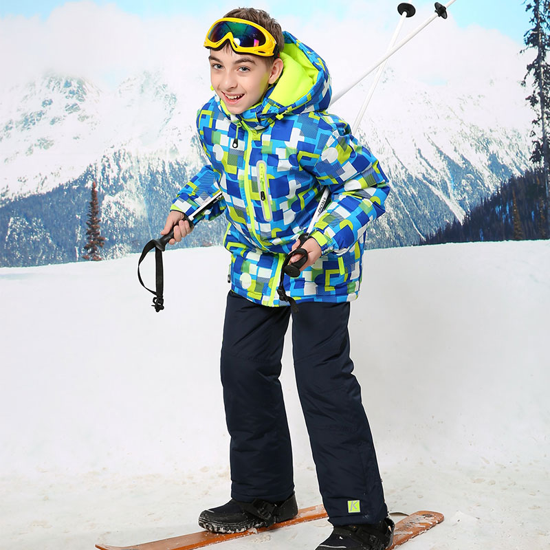 ФОТО  2016 Childen Cheap Ski Suit Snowboarding Suits Boys Ski Suit Kids Clothes Camping Outdoor Sport Jacket And Pant  For 3T To 16T