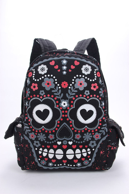 Men Women Unisex Sugar Flower Printed Skull Gothic Emo Punk Backpack Rucksack School Bag Pink Waterproof Mochila