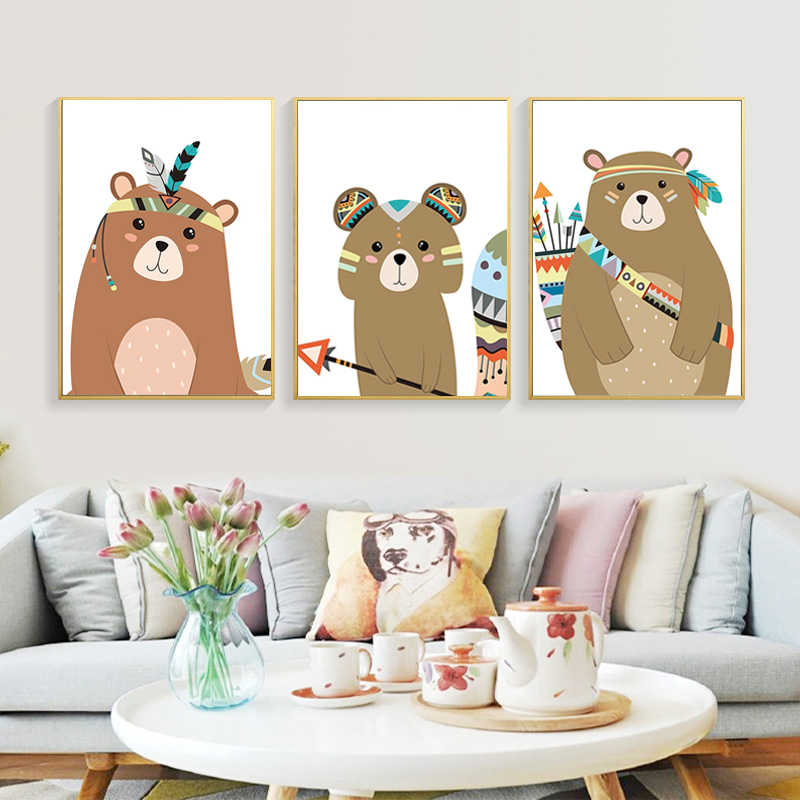 Aquarela animal indiano veados urso raposa arte canvas cartaz do berçário cópias dos desenhos animados pintura parede imagem do quarto do bebê nórdico decoração