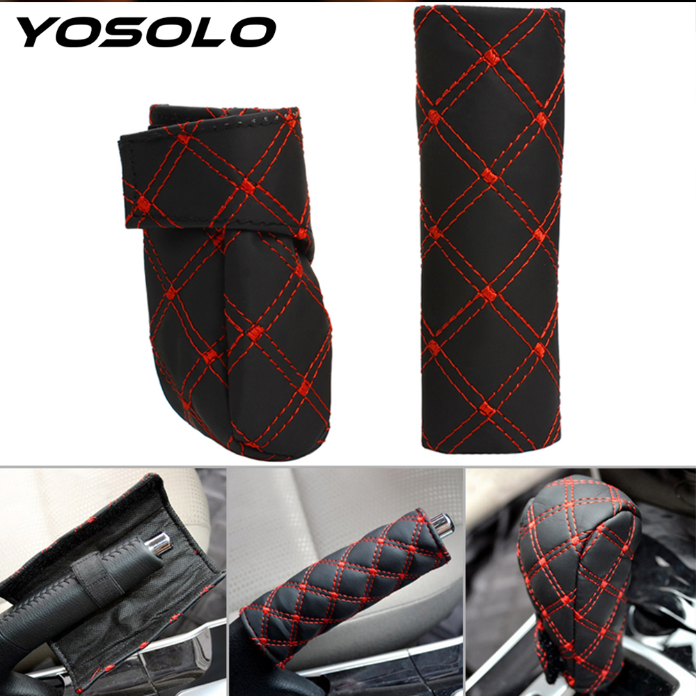 YOSOLO Gear Shift Knob Hand Brake Cover Universal Auto Accessories PU Leather For Car Decoration Car Styling Gear Shift Cover