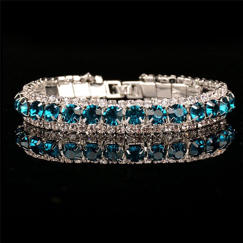 ROMAD Charm Women Full Crystal Rhinestone Cuff Love Bracelets Bangle Bling Wristband Women Wedding Bridal Jewelry Gift R4
