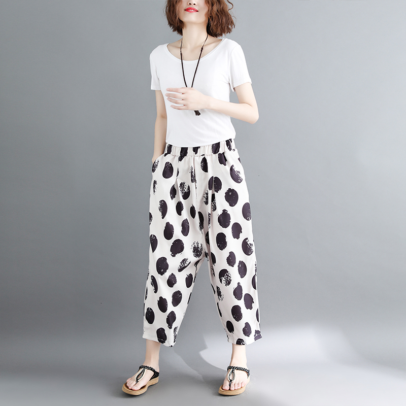 women white and black dot harem pants 2018 summer new loose fashion high-waist button fly female trousers pant 2