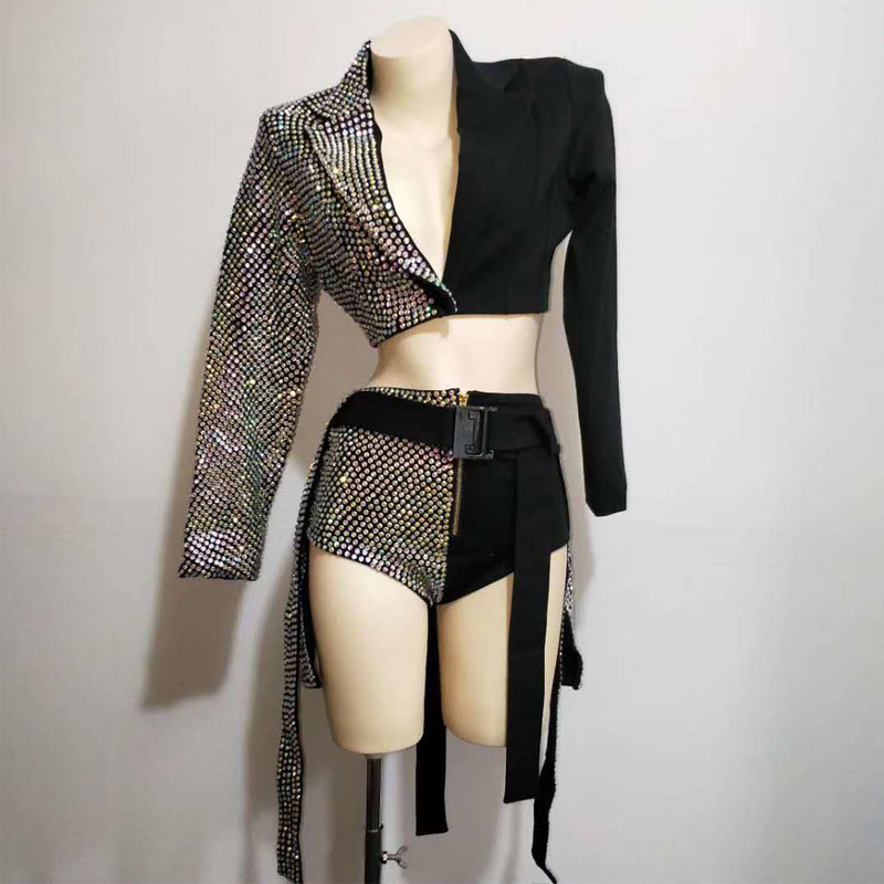 2PCS/SET Sparkly Rhinestones Outfit Sexy Black Blazer Short Design Party Dj Female Singer Nightclub Jazz Dance Skirt Costume