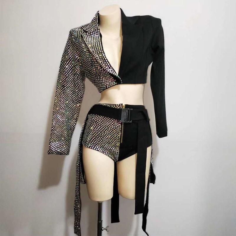2PCS/SET Sparkly Rhinestones Outfit Sexy Black Blazer Short Design Party Dj Female Singer Nightclub Jazz Dance Skirt Costume