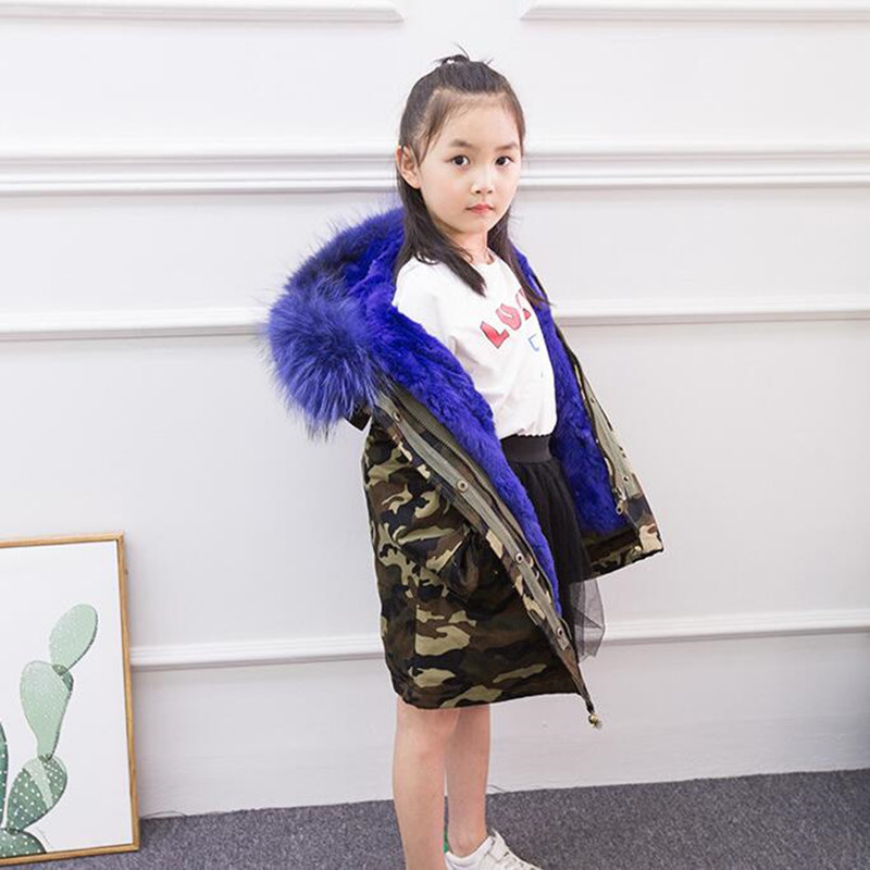Kids Warm Parka Winter Girls Real Rabbit Fur Coat Children Casual Camo Flag Print Thick Warm Jacket Boys Hooded Outerwear D0362 winter kids rex rabbit fur coats children warm girls rabbit fur jackets fashion thick outerwear clothes