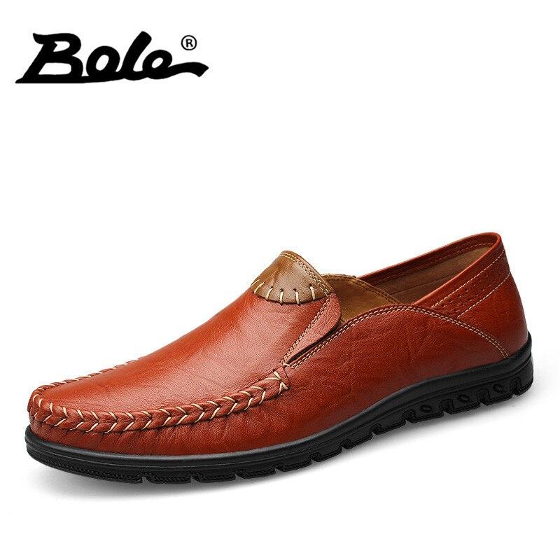 BOLE Design Superstar Slip On font b Casual b font Leather font b Men b font
