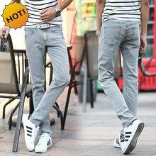 High Quanlity Retro Classic Ash light Grey Stretch Middle Waist Vintage Denim Washing Slim Fit Jeans Men Hip Hop Bottoms 27-36