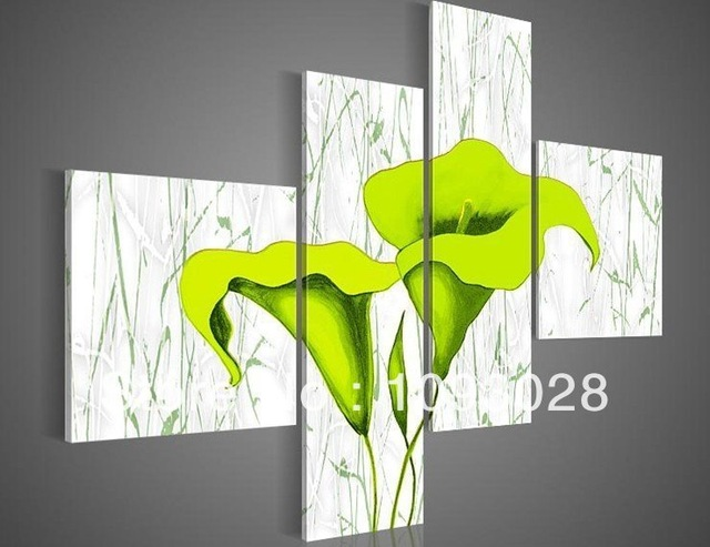 Free Shipping Hand painted Oil Wall Art Pale Green Beautiful Flowers Decoration Abstract Landscape Oil Painting on Canvas Art