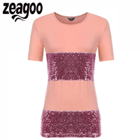Zeagoo Women T Shirt O Neck Short Sleeve Patchwork Sequined Casual Loose T Shirt 2017 Fashion