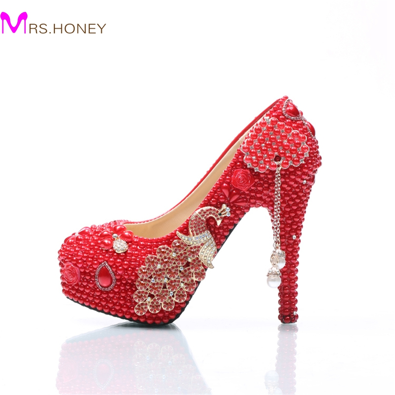 Wedding Shoes Red Pearl Stiletto Heel Bridal Dress Shoes with Phoenix Bridesmaid Shoes Cinderella Prom Party Pumps Plus Size white ab crystal wedding shoes sparkling rhinestone bridal dress shoes plus size platform high heel shoes cinderella prom pumps