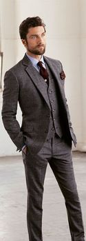 2017 Latest Coat Pant Design Grey Tweed Men Suit Jacket Groom Tuxedo Slim Fit Skinny 3 Piece Style Suits Custom Blazer Masculino