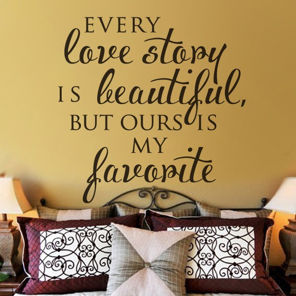 Every Love Story is Beautiful Home Decor Vinyl Wall Sticker Family Wall quotes Romantic Decal Arts Wedding Gift 57x57