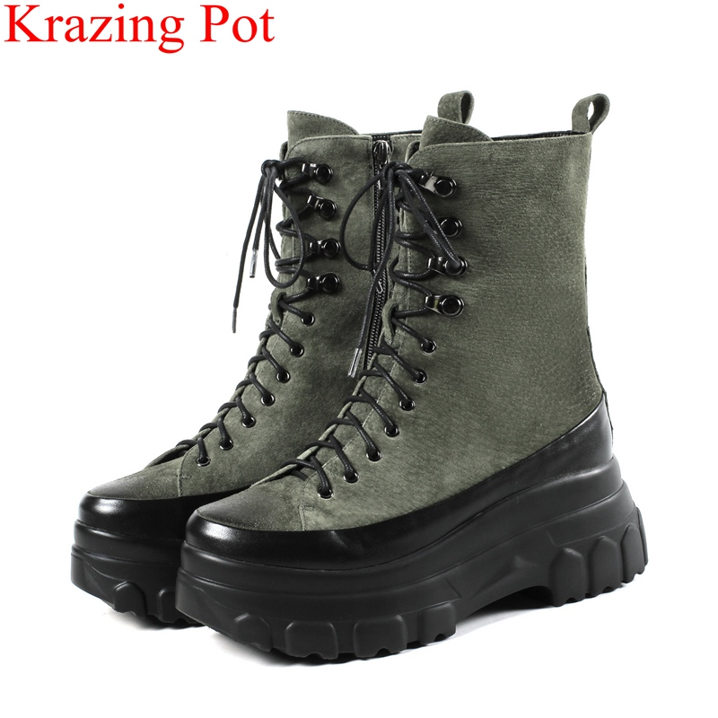 Krazing Pot 2018 big size zipper genuine leather keep warm motorcycle boots round toe platform runway women ankle boots L5f1 2018 new arrival genuine leather zipper runway autumn winter boots round toe high heels keep warm elegant women ankle boots l29