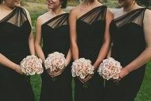 2017 Cheap Elegant Bridesmaid Dress Sheath Black One Shoulder Satin Long Bridesmaid Dresses