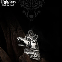 Uglyless Real 925 Sterling Silver Men Hollow Wolf Head Pendant without Chain Ethnic Tibetan Totem Animal Jewelry Handmade Bijoux