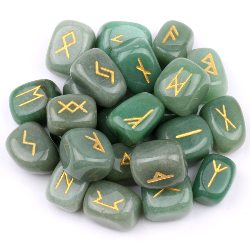yaye Natural Green Aventurine Engraved Rune Stones Set Crystal Gemstones Craft Feng Shui Decor 25pcs Set