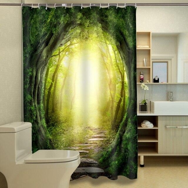 New 3D Shower Curtains Hooks Dream Gate Pattern Waterproof Fabric ...