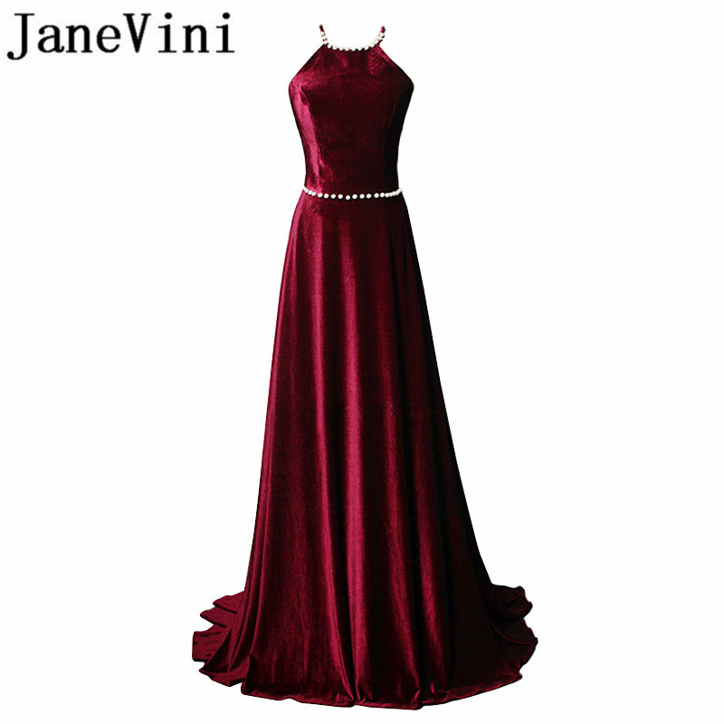 JaneVini 2018 Sexy Velvet Burgundy Long Bridesmaids Dresses Halter A-Line Beaded Backless Sweep Train Formal Party Prom Gowns