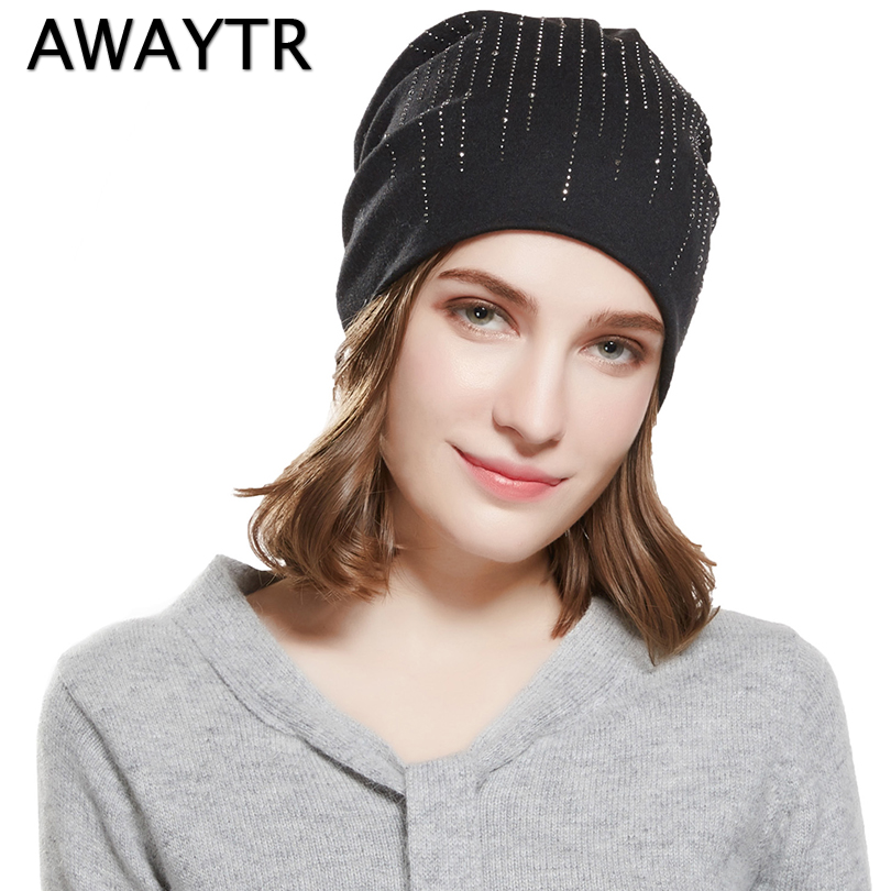 AWAYTR Autumn Warm Winter Hat For Women Elegant Knitted Rhinestone   Skullies     Beanies   Caps Girls Flaps Caps Ladies   Beanies