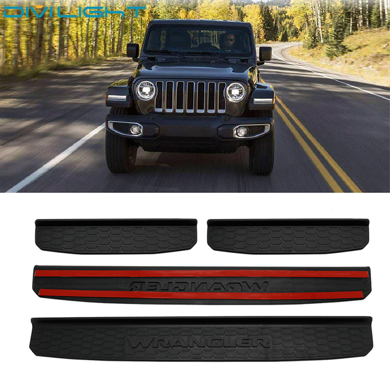 fits 2018 2019 Jeep Wrangler JL 4dr Black Door Sill Scuff Plate Guards with LOGO
