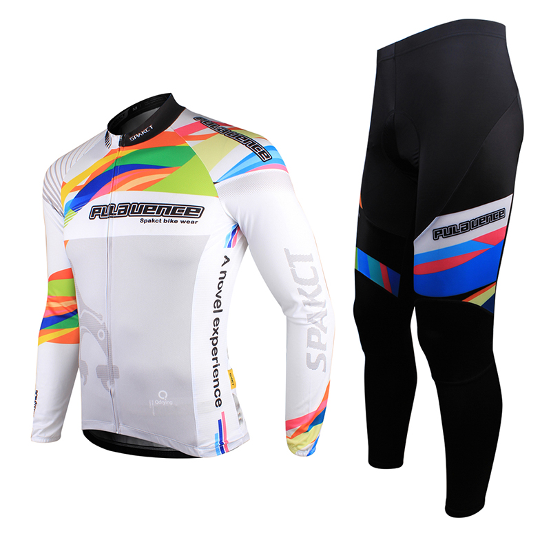 ФОТО SPAKCT High Visibility, Full Zipper, Race Fit SPAKCT Bike Men's Cycling Suits Long Sleeve Jersey & Tights Pants-Provence