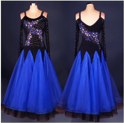 Ballroom dance costume sexy senior long sleeves diamond ballroom dance dress for women ballroom dance competition