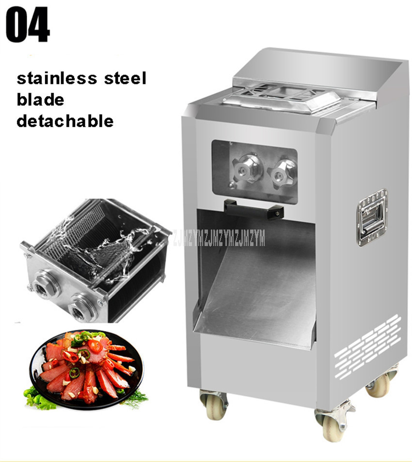 3.5mm Blade Spacing Commercial Meat Slicer Cutter Stainless Steel Electric Automatic Meat Slice Strip Cutting Machine 400kg/h 4