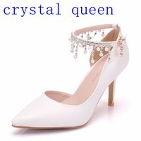 Crystal Queen Rhinestone Flowers Pumps For Women Thin High Teels Pointed Toe High Heels Wedding Shoes Party Heels Women Shoes