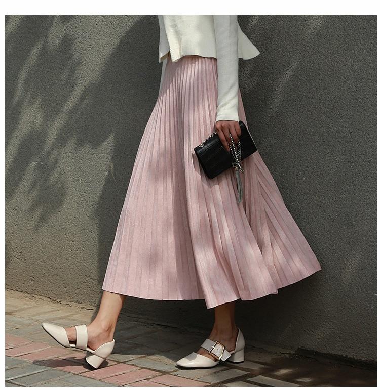 Image 5 - 2019 New Fashion Autumn Women Suede Skirt Pink White Long Pleated Skirts Womens Saias Midi Faldas Vintage Women Midi Skirt-in Skirts from Women's Clothing