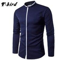 T Bird New Arrived 2017 Mens Work Shirts Brand Long Sleeve Solid Color Men Dress Shirts