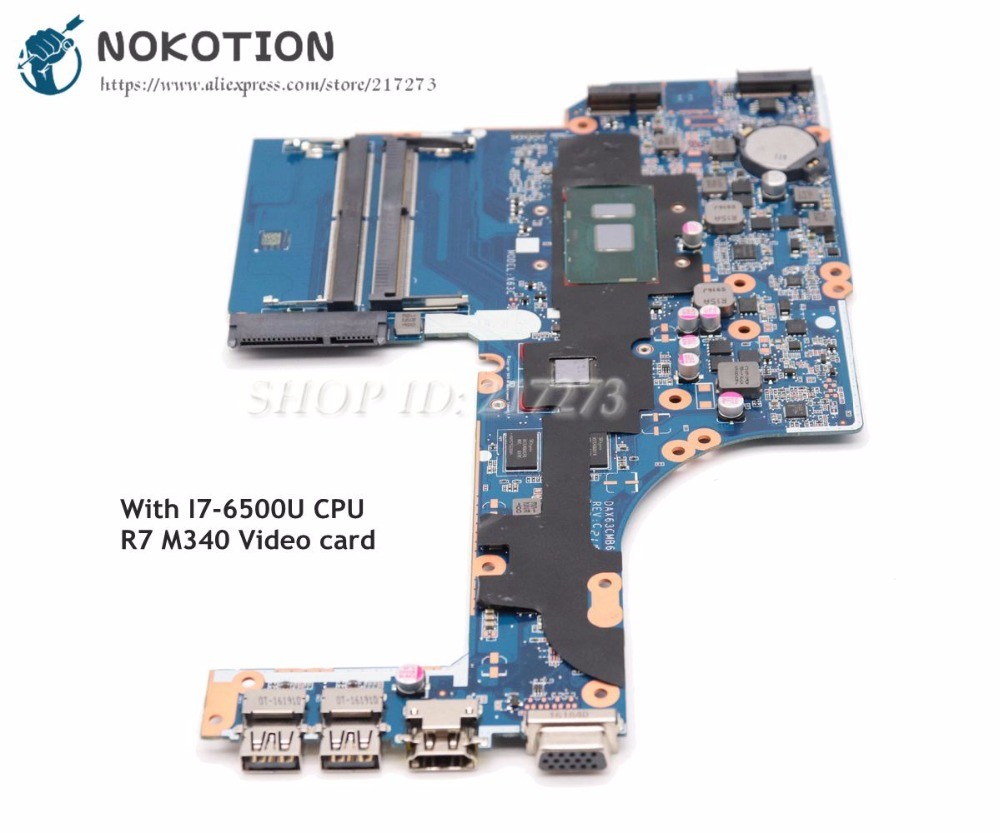 NOKOTION DAX63CMB6C0 855565 601 855565 001 For HP Probook 450 G3 Laptop Motherboard SR2EZ I7 6500U R7 M340 Video card