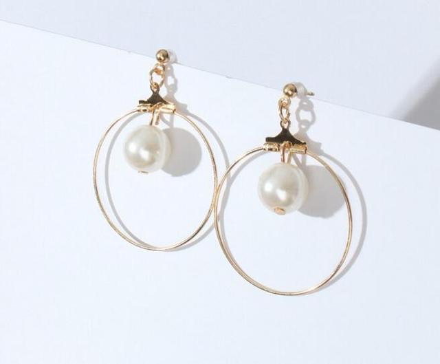 Ed 046 2018 Fashion Wild Geometric Circle Triangle Square Pearl Earrings Simple Female Jewelry Accessories