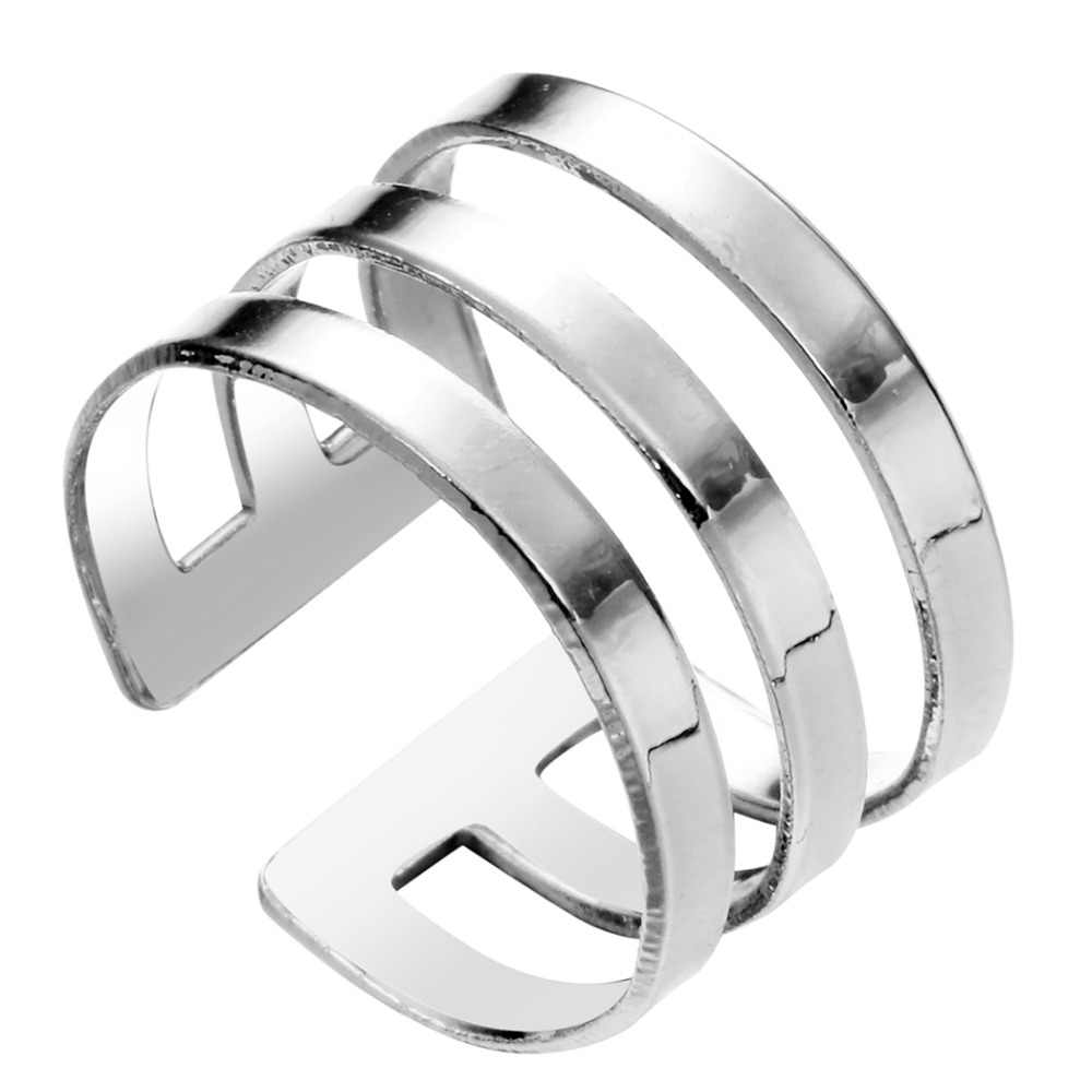 QIAMNI High Gloss Three Line Band Cuff  Midi Knuckle Vintage Rings Unique Adjustable Ring Gift for Women Girls Wedding jewelry