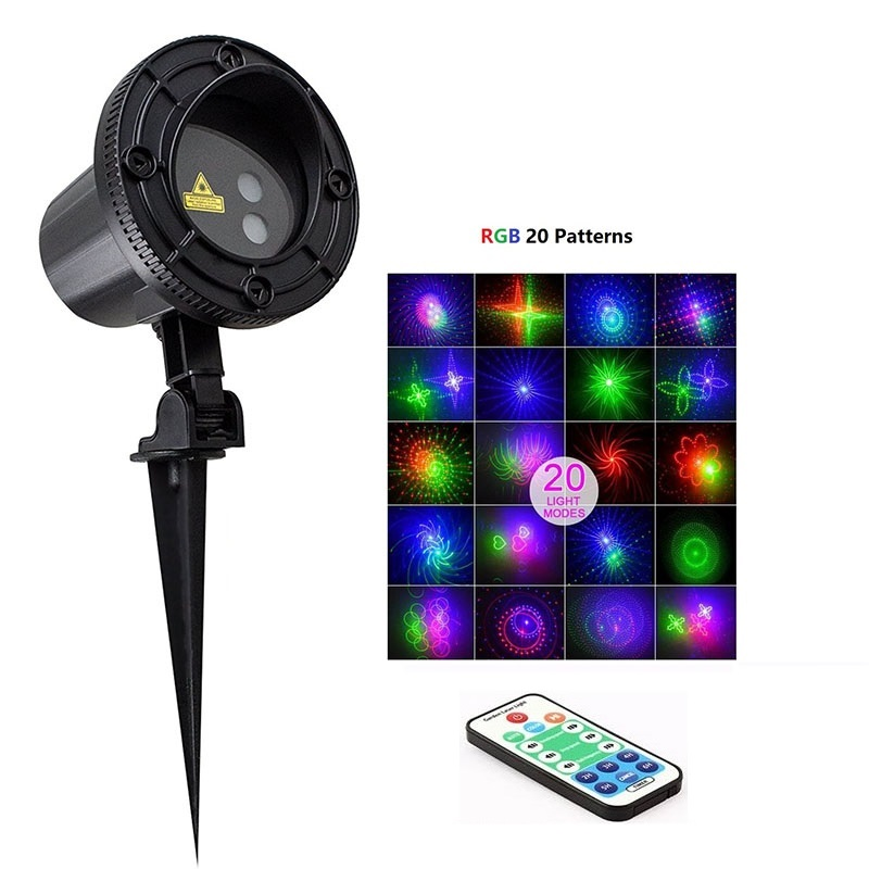 RGB 20 Patterns Outdoor Laser Projector RF Remote Red Green Blue Lights Waterproof IP65 Garden Christmas Landscape Xmas Tree 12v 50w colored rgb outdoor lights 110v wall projector flood light garden waterproof landscape lamp remote control by dhl 6pcs